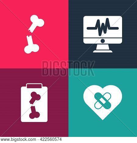 Set Pop Art Healed Broken Heart, X-ray Shots, Monitor With Cardiogram And Human Bone Icon. Vector