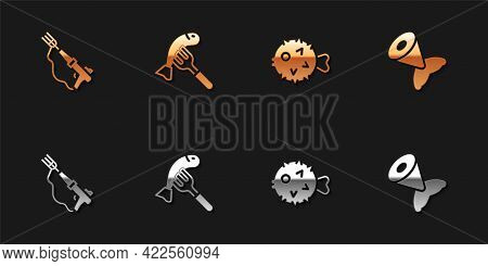Set Fishing Harpoon, Served Fish Plate, Hedgehog And Tail Icon. Vector