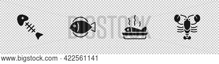 Set Fish Skeleton, , Served Fish A Plate And Lobster Icon. Vector