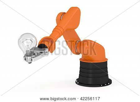 Robotic Arm Holding Light Bulb