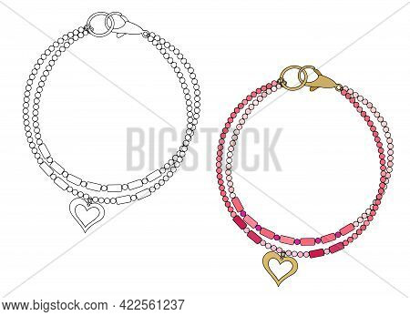 Handmade Jewelry Amulet Bracelet With A Heart-shaped Pendant. Vector Illustration Isolated On A Whit