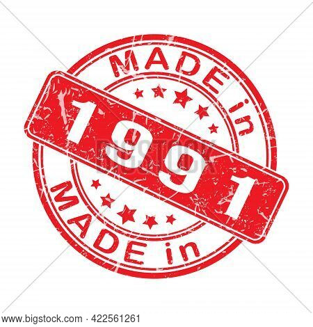 An Imprint Of A Seal Or Stamp With The Inscription Made In 1991. Editable Vector Illustration. Label