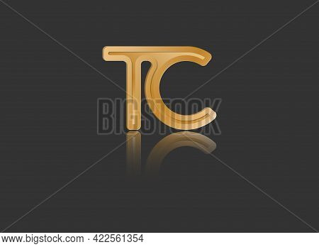 Gold Stylized Lowercase Letters T And C With Reflection Connected By A Single Line For Logo, Monogra