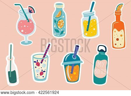 Summer Drinks Stickers. Cocktail, Lemonade, Soda, Smoothies In Cute Bottles. Tropical Party Elements