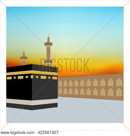 The Kaaba At Dawn Before Sunrise. Mecca, Saudi Arabia. Pilgrimage Hajj, Ramadan Kareem. Flat Style D
