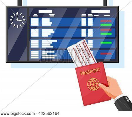 Airport Board, Hand, Passport, Boarding Pass. Departure Arrival Timetable. Flight Destination, Gate,