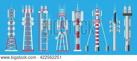 Transmission Cellular Tower Antenna. Network Broadcast Equipment Isolated. Broadcasting, Internet, T