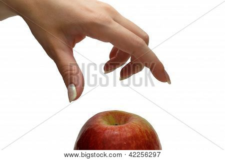Hand Taking Apple