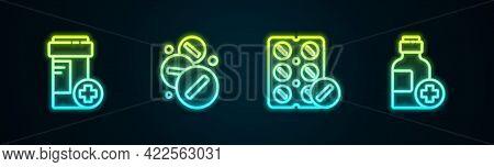 Set Line Medicine Bottle, Pill Or Tablet, Pills Blister Pack And Bottle Of Medicine Syrup. Glowing N