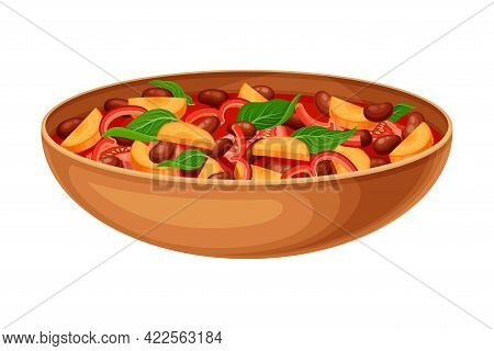 Mixed Vegetables With Tomato Sauce As Indian Dish And Main Course Served In Bowl And Garnished With