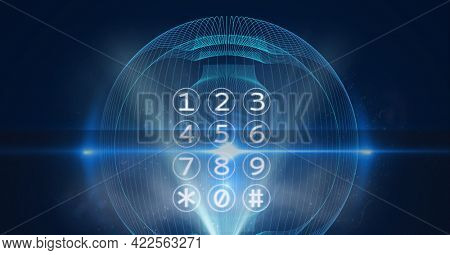 Composition of interface with telephone numeric keypad with holographic curved lights on black. global communication and digital interface technology concept digitally generated image.