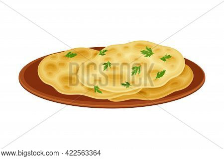 Chapati Or Flatbread As Indian Dish Served On Plate And Garnished With Herbs Closeup Vector Illustra