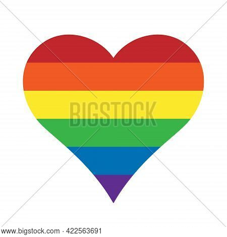 Heart Shape With Rainbow Color Stripe Pattern. Vector Illustration Image.