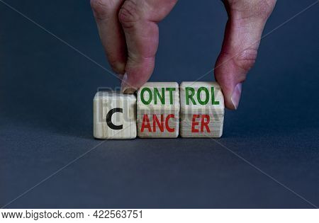 Control Cancer Symbol. Doctor Turns Wooden Cubes With Words 'control Cancer'. Beautiful Grey Backgro
