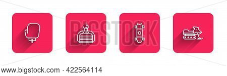 Set Line Boxing Glove, Ski Lift, Longboard Or Skateboard And Snowmobile With Long Shadow. Red Square