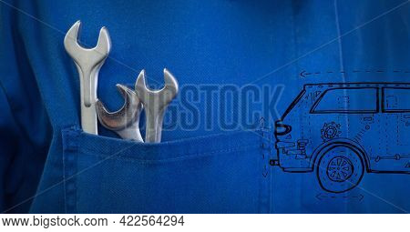 Composition of car icon over tools in blue car mechanic overalls. independent business, services and car industry concept digitally generated image.