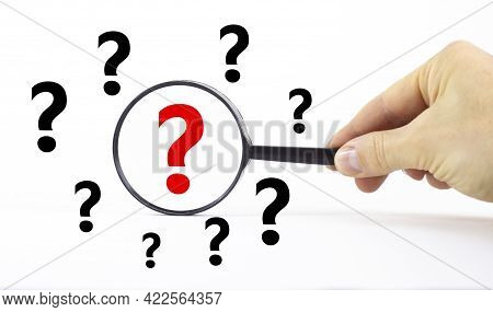 Question And Exclamation Marks Symbol. Magnifying Glass With Question Mark Symbol. Concept Creative