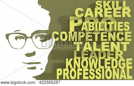 Silhouette Of A Female Head And Competence Theme Words Cloud