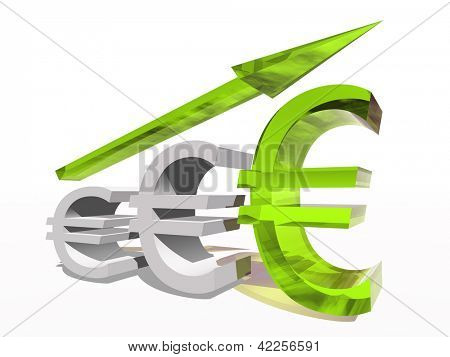 Conceptual 3D euro symbol with an arrow isolated on white background