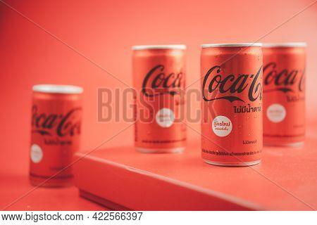 Bangkok, Thailand - June 3, 2021 : Mini Can Of New Coca-cola