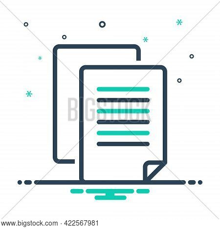 Mix Icon For Copywriting Calligraphy Copy Document Message Note Stationery Text Page