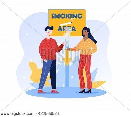 Designated Smoking Area Sign, Public Smoking Place, Smokers Drug Addiction, People Smoke Cigarettes,