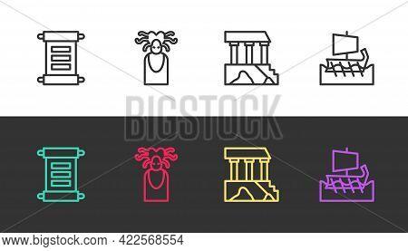 Set Line Decree, Parchment, Scroll, Medusa Gorgon, Parthenon And Greek Trireme On Black And White. V