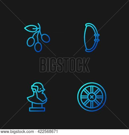 Set Line Old Wooden Wheel, Ancient Bust Sculpture, Olives Branch And Medieval Bow. Gradient Color Ic