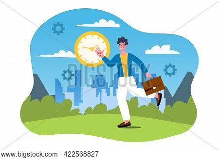Work In Deadline, Time Management, Hurry Up, Quick Response, Time Is Running Out, Running In A Circl