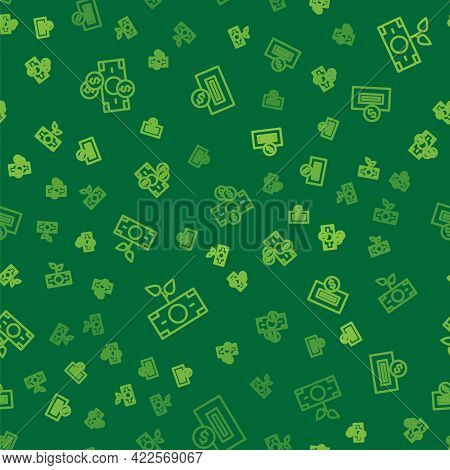 Set Line Stacks Paper Money Cash, Money Plant In The Pot And Inserting Coin On Seamless Pattern. Vec