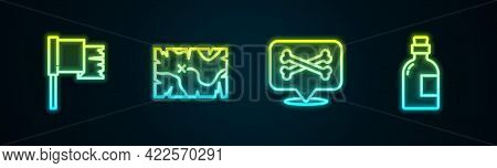 Set Line Pirate Flag, Treasure Map, Location Pirate And Alcohol Drink Rum. Glowing Neon Icon. Vector