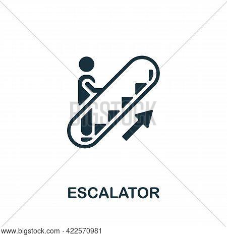 Escalator Icon. Monochrome Simple Element From Mall Collection. Creative Escalator Icon For Web Desi