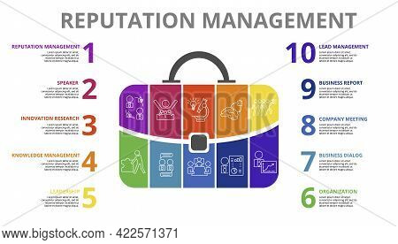 Infographic Reputation Management Template. Icons In Different Colors. Include Reputation Management
