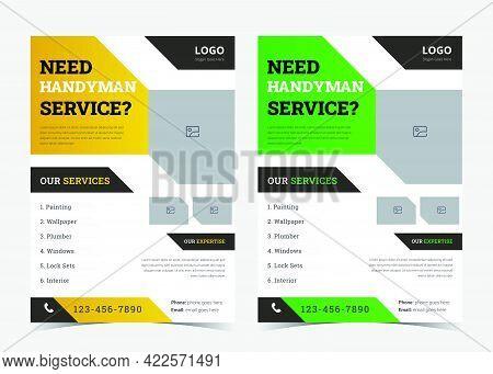 Home Repair Flyer. Handyman Service Leaflet. House Repair Handyman Service Flyer Poster Template. Re