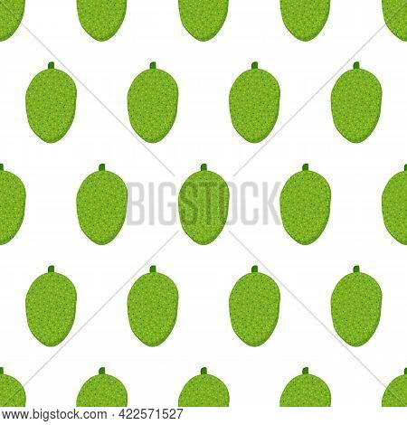Whole Green Jackfruits Cartoon Style Vector Seamless Pattern Background For Tropical Food Design.