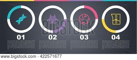 Set Line Dna Symbol, Biohazard, Earth Globe And Laboratory Glassware Or Beaker. Business Infographic