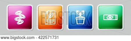 Set Line Hemoglobin, Eco Paper With Leaf, Plant Pot And Blood Test And Virus. Colorful Square Button