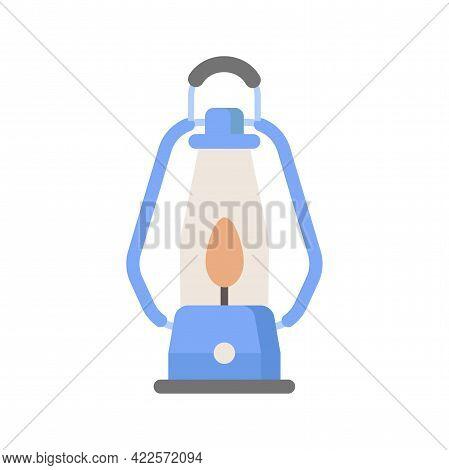 Vintage Camping Blue Lantern. Flat Vector Illustration Isolated On White Background. Kerosene Touris