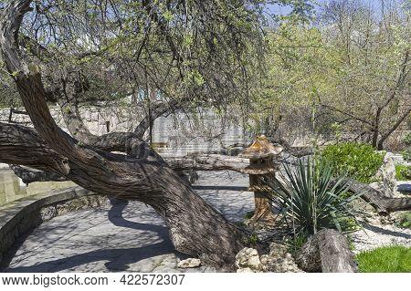 Sudak, Crimea - April 28, 2021: Part Of The Park In The Tourist And Recreation Center