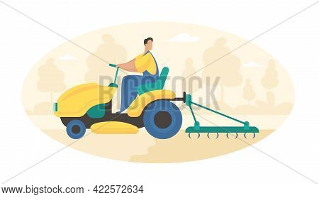 Plowing Field With Tractor. Farmer In Uniform On Wheeled Machine Plows Soil Preparation Sowing Grain