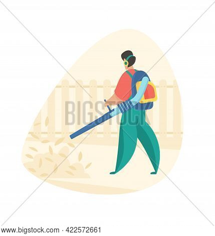 Cleaning Leaves In Garden With Leaf-blower. Man Cleans Garden Area From Debris With Air Blower. Autu