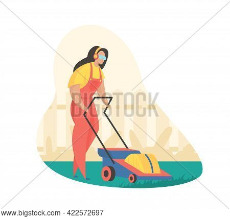 Mowing Grass With Lawn Mower. Woman In Protective Uniform Lines Green Clearing. Garden And Park Main