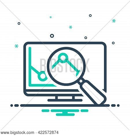 Mix Icon For Research Investigation Checkout Quest Disquisition Analysis Magnifier Graph Magnifier