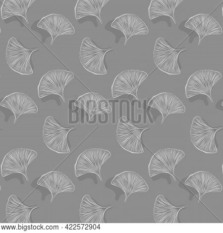 Gingko Leaf Vector Pattern, Repeating Abstract Drawing Gingko Leaf With Shadow On Dark Background. P