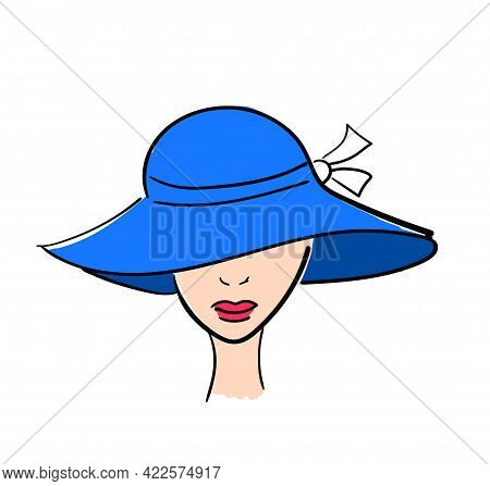 Woman With Blue Broad-brim Hat. Flat Style Illustration