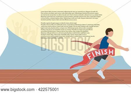 A Fast Runner Crosses The Finish Line. Winner Of A Running Competition. Athletics. Motivational Bann