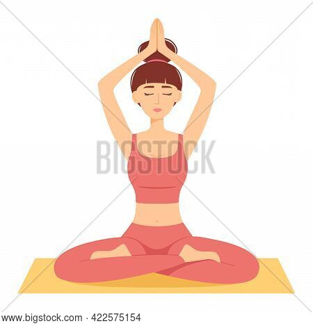 Meditating Woman. Girl In Lotus Position Practicing Yoga, Vector Illustration