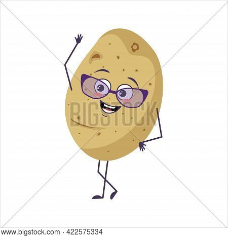 Cute Character Potato With Glasses And Joyful Emotions, Smiling Face, Happy Eyes, Arms And Legs. A M