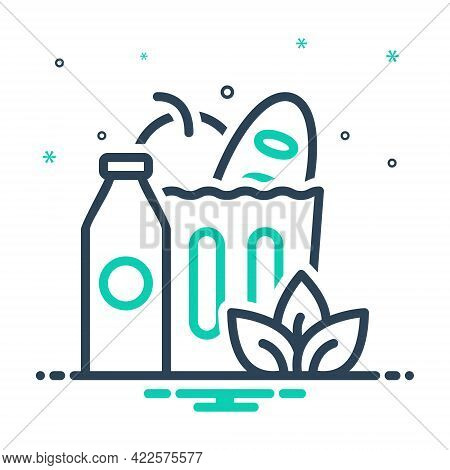 Mix Icon For Groceries Food Supermarket Shop Bazaar Marketplace Element Healthy Product Consumer Dai