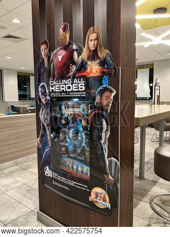 Honolulu - May 8, 2019: Marvel Avengers Happy Meal Toy Figure Display Featuring Iron Man, Thor, Capt